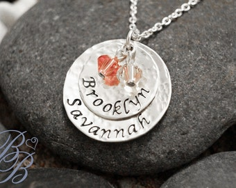 Personalized Jewelry - Hand Stamped Jewelry - Mother's Necklace - Birthstone Necklace