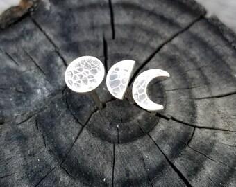 Moon Phase Silver Post Earrings