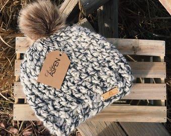 THE ASPEN - chunky crochet beanie with fur pom