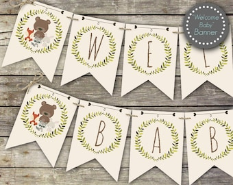 Woodland baby shower banner, Welcome Baby banner, printable banner, woodland baby shower decor, baby shower decorations