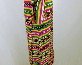 1980's Native Multi Colored Guatemalan Huipil Skirt - Large