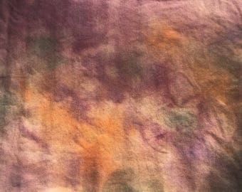 Rug Hooking Wool-Rose-Green-Orange-Hand Dyed Fabric-Mottled Colors