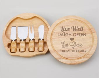 Live Well - Laugh Often - Eat Cheese Personalized Gourmet 5pc. Cheese Board Set - JM4989968-A