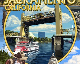 Sacramento, California - Montage (Art Prints available in multiple sizes)