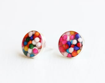 Candy Resin Studs, Silver Resin Studs, Sprinkle Studs, Resin Earrings, Candy Sprinkles Studs, Sterling Silver Studs, Handmade Studs, Studs