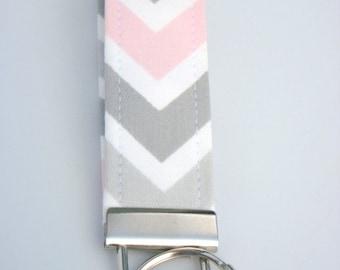 Wristlet Key Fob / Key Chain -Chevron / Bella - Gray, Light Pink, White