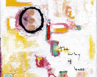 The Why of Bees, Original 8 X 8 Mixed Media Painting, Abstract Art