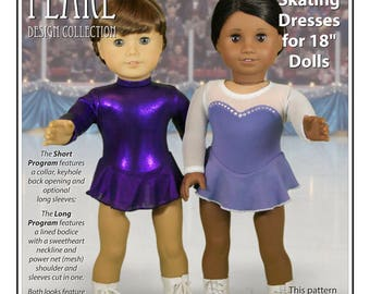 L&P #1055: Skating Dresses Pattern for 18 inch dolls - includes two stunning looks with neckline and sleeve variations