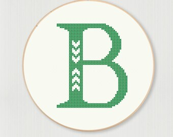 Cross stitch letter B pattern with chevron detail, instant digital download
