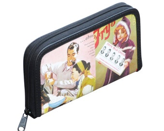 Medium zip wallet using retro ads - FREE SHIPPING, gift for her, vegan wallet, Upcycle wallet Card zipper wallet, Mom gift