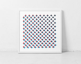 Optical Illusion Art, Minimal Graphics, Plus Sign, Optical Wall Art, Mid-Century Inspired, Red Blue Wall Art, Square Art, Pattern Wall Art
