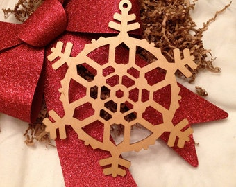 Extra Large Wooden Laser Engraved Snowflake (Style B)
