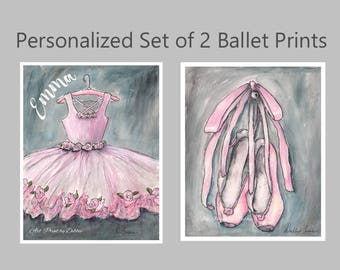 Ballet Bedroom Ballerina Watercolor Painting Prints, Set Of 2 Personalized With Girls Name, Pink Tutu Shoes Gray Baby Nursery Wall Art, Gift