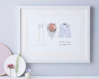 Wedding Anniversary Gift - Wedding dress Illustration - Bridal Bouquet Art Print - Hand drawn wedding suite portrait