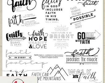 Digital and Printable Overlay Word Art Set - Instant Download - Walk in Faith - Religious - Christian - LDS