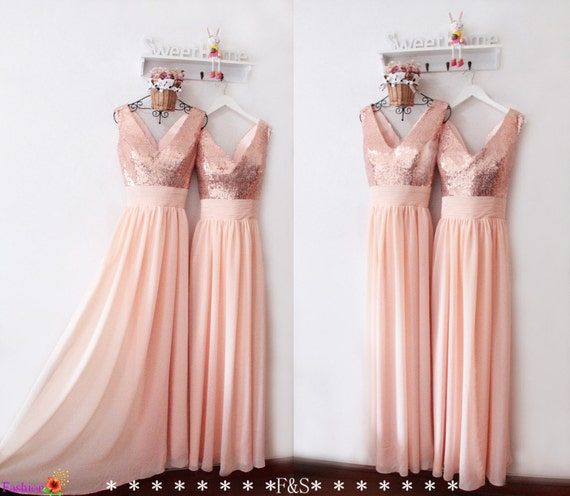 Rose Gold Prom Silvers: Peach Bridesmaid DressPeach Prom DressV Neck Rose Gold