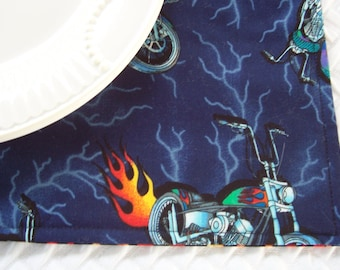 Single Fabric Placemat, Motorcycles, School Placemat, Lunchbox Placemat, Boys Placemat, Girls Placemat, Reverible Placemat, Cloth Placemat