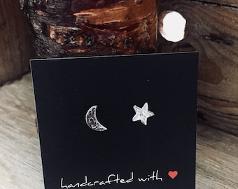 Textured Fine Silver Crescent Moon & Star Earrings