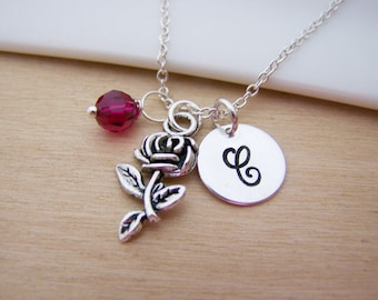 Rose Flower Charm Swarovski Birthstone Initial Personalized Sterling Silver Necklace / Gift for Her