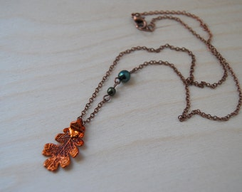 Small Fallen Copper Oak Leaf Necklace | Electroformed Jewelry | Real Oak Leaf Pendant | Nature Jewelry | Copper Leaf Necklace