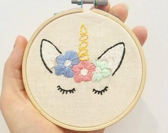 """Unicorn embroidery hoop wall hanging 4"""""""