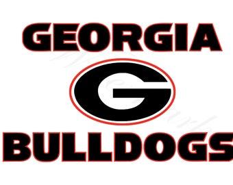 Georgia SVG & Studio 3 Cut File Stencil and Decal Files Bull Dog Logo for Silhouette Cricut SVGS Cutouts Football Decals Logos Bulldogs