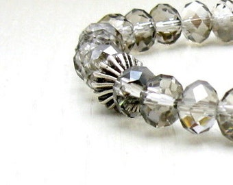 Gray Crystal Minimalist Neutral Beaded Bracelet  Stretch Bracelet, for Her Under 40, Free Gift Wrap