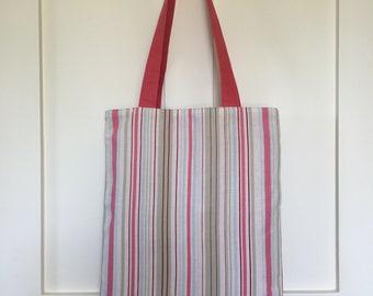 Stripe fabric bag, market bag, book bag, shopper, pink stripe, beach bag, summer bag, holiday bag, cotton bag, tote bag, best friend gift