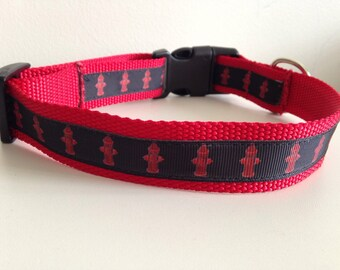 Red Fire Hydrants on Red Nylon Large 1 inch Dog Collar