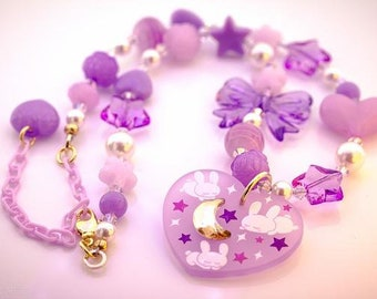 Deluxe Bunny Dreams Necklace with Acrylic and Swarovski Crystal Beads