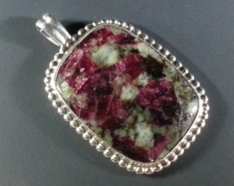 Beautiful Russian Eudialite and Sterling Silver Pendant