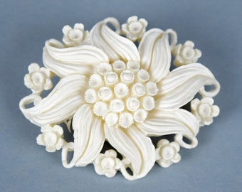 Unique vintage items prints of my original by softfocusvintage vintage celluloid white flower brooch pin white floral celluloid pin mightylinksfo
