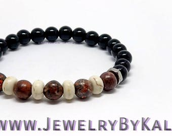 Howlite and Leopard Jasper Adjustable Beaded Bracelet
