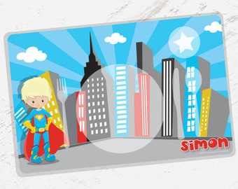 SALE - Kids PLACEMAT Superhero Children's Personalized Wipe-able Placemat Learn to Set the Table, Laminated, montessori- PM002