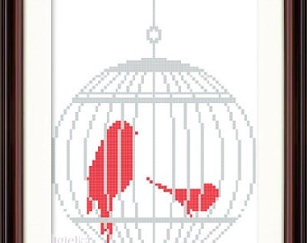 Birds in a Cage cross stitch pattern instant download shabby chic style romantic French boudoir