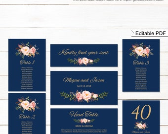 Wedding Seating Chart Template, Seating Cards, Floral Wedding Table Plan, #A011, INSTANT DOWNLOAD, Editable PDF