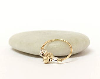 Tiny Hoop Helix Earring 18K Yellow Solid Gold Helix Piercing, Forward Helix Hoop Ring, Gold Helix Cartilage Earring, Helix Earring Hoop Gold