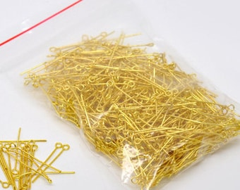 100 pcs Eye pins- Gold Plate pins - Gold Plate Findings - Jewelry Making Supply  lot - 2.8 cms - EP07