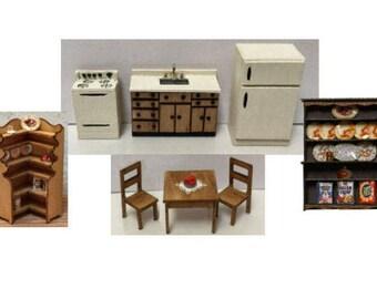 Quarter Inch Scale Kitchen Set Dollhouse Furniture Kits