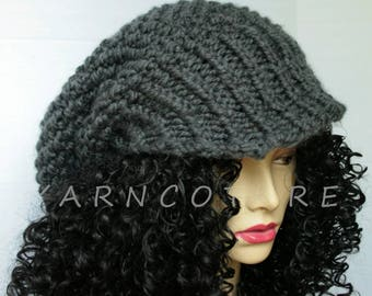The Satin Lined OVERSIZED Brimmed Slouchy Knit Hat / Chunky Knit Hat /LUXE VERSION