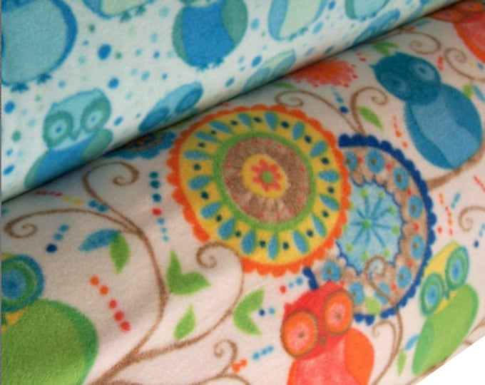 Micro-fleece fabric - Della by Valori Wells - Wide width Owl prints - select a length