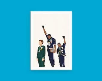 1968 Olympics Black Power Salute - Illustration Portrait (Tommie Smith, John Carlos, Peter Norman)