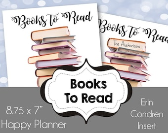 Books To Read  for use as an Erin Condren Insert or a Happy Planner Insert 9x7
