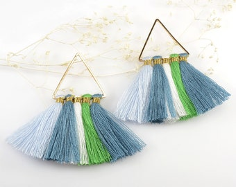 Cotton Tassels, Triangle Multi Tassel in Blue-Green Mix, 2 x 2 Inch, Multi Tassels for Jewelry Making, Tassel Earrings, Tassel Necklaces