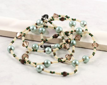 Mint Green Lanyard Pearl Eyeglass Leash Cream Beaded Lanyard Bronze Eyeglass Chain Topaz Eyeglass Leash Crystal Sunglass Lanyard