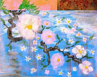 PRINT of Medium Acrylic, Romantic, Chinoiserie, Pink White and blue Floral, 16X20, Original Painting, French Boudoir, Mixed Media,