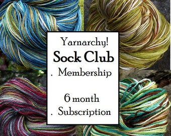 Last minute instant giftSock Yarn Club Membership, Handpainted sock yarn 6 months free shipping