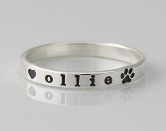 Paw Print Ring, Dog Ring, Personalized Pet Ring, Paw Print Jewelry, Pet Memorial Jewelry, Dog Mom, Sterling Silver Ring