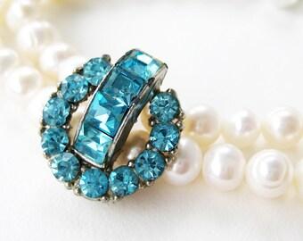 Aqua Rhinestone and White Pearl Bracelet, Vintage Blue Rhinestone Accent 2 Strand Wedding Bracelet, Something Blue Bridal Jewelry, Mirabelle