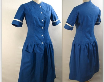 Vintage 40s Hospital Uniform Housekeeping Dress S